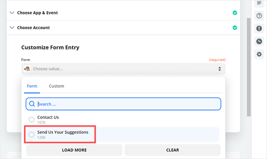 Select the form that you want to receive Zap notifications from