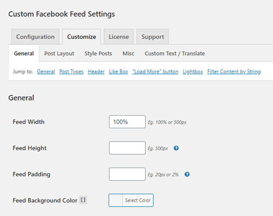 The Customize options for the Custom Facebook Feed plugin