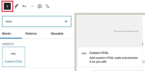 Aggiunta di un blocco HTML personalizzato in WordPress