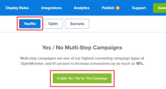 Haga clic en el botón para habilitar la función de campaña Sí / No