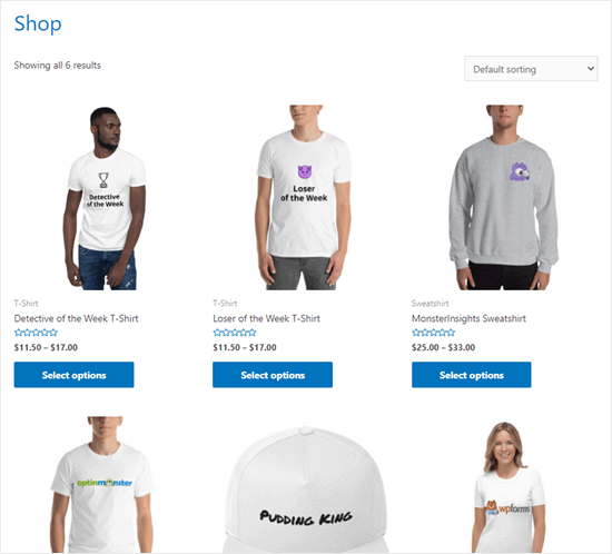 The finished print on demand store, with a range of products ready to buy
