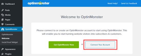 Haga clic en el botón para conectar su cuenta de OptinMonster a su sitio de WordPress