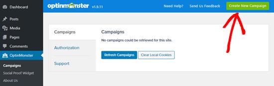 Haga clic en el botón para crear una nueva campaña en OptinMonster