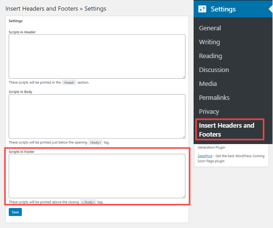 Using the Insert Headers and Footers plugin to add code to your website's footer