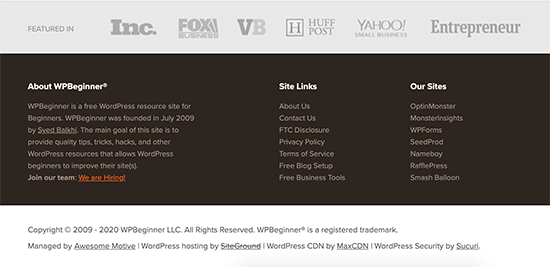 Example of the footer area on a WordPress powered website