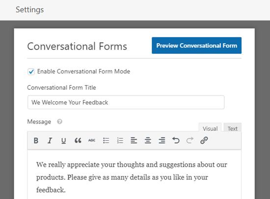 Inserendo un titolo e un messaggio per il tuo modulo di conversazione
