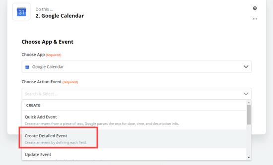 Seleziona & # 039; Crea evento dettagliato & # 039; come evento di azione per Google Calendar