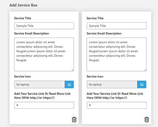 Sono già state create due caselle di servizio con testo predefinito
