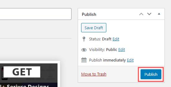 Fare clic sul pulsante di pubblicazione per pubblicare le caselle di servizio