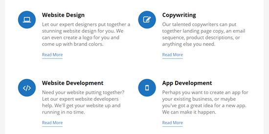 Sezione servizi completati, con icone blu e collegamenti blu