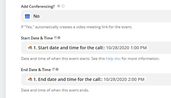 Selecteer de juiste velden van uw formulier voor de start- en eindtijden van het evenement