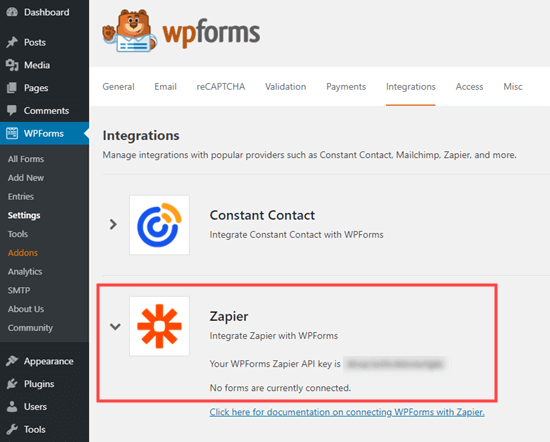 Getting the Zapier API key from WPForms