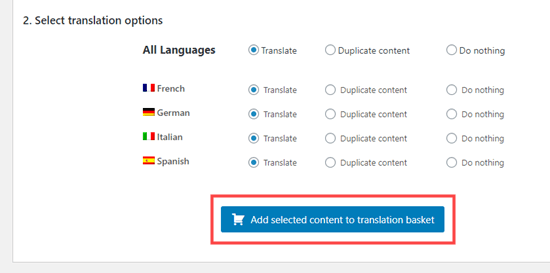 Adding your chosen product pages to your translation basket