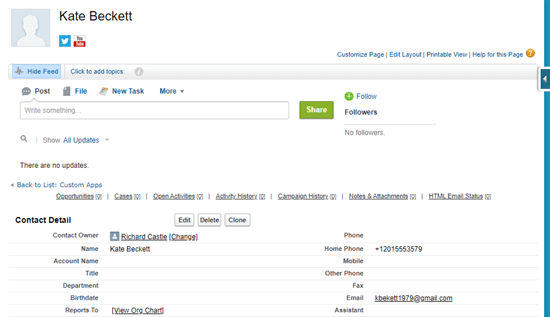 Viewing the contact's detalis that have been added to Salesforce
