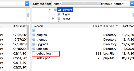 Debug log file in WordPress