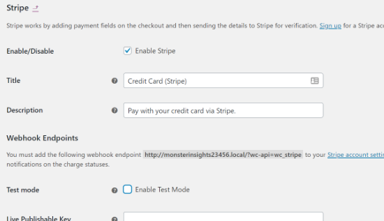 enable stripe in woocommerce