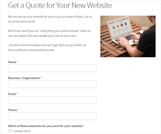 The request a quote form live on our demo website