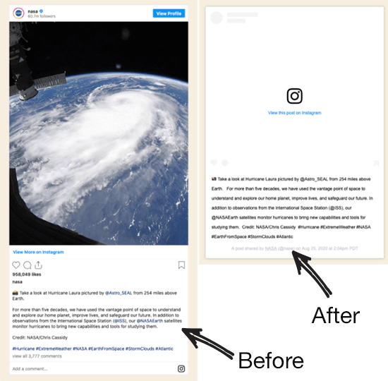 Instagram oEmbed prima e dopo la modifica dell'API