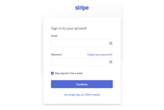 accedi al tuo account stripe