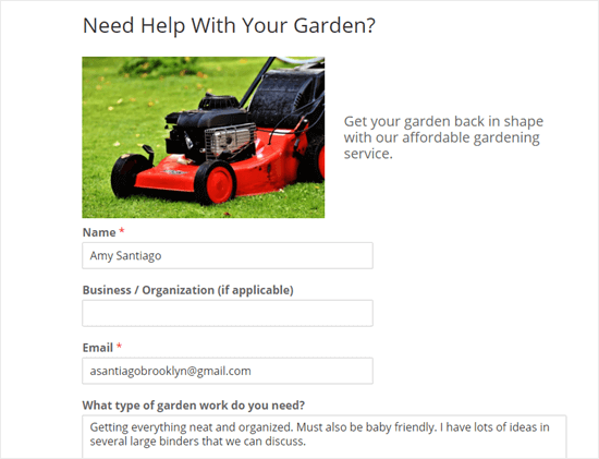Sending a test form entry through your WPForms garden work form