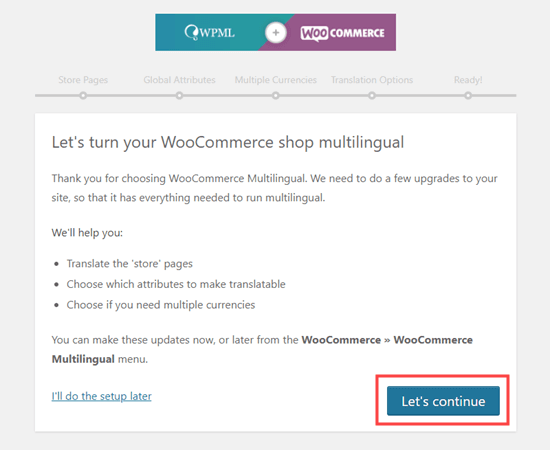 Getting started with the WPML WooCommerce setup