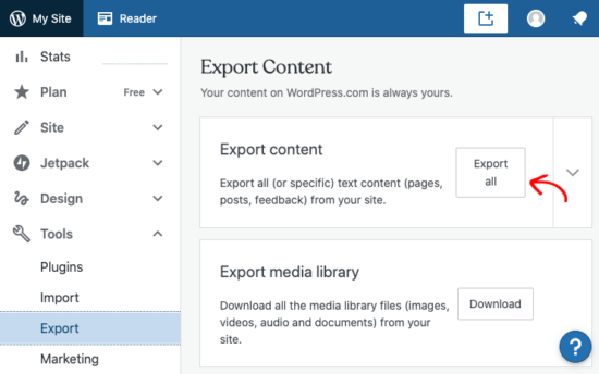 Export in WordPress.com