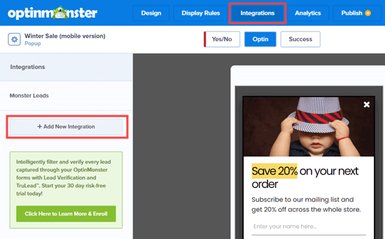 Click the button to add a new integration with an email marketing service