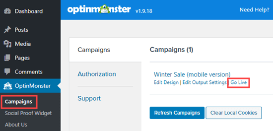 Putting your OptinMonster campaign live on your WordPress site