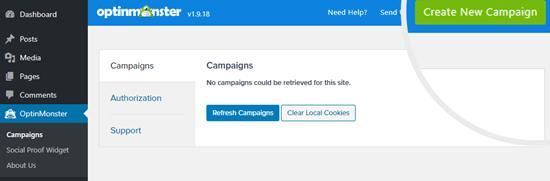 Fare clic sul pulsante Crea nuova campagna per creare una nuova campagna in OptinMonster