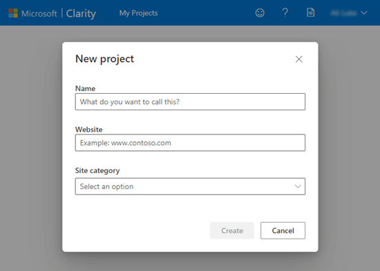 Setting up a new project in Microsoft Clarity