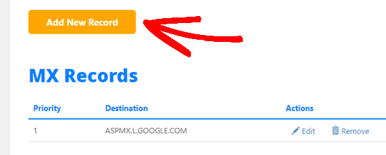 De HostGator-knop om een nieuw MX-record toe te voegen