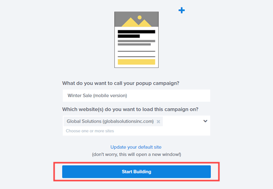 Name your mobile popup campaign and click the button to start creating your popup