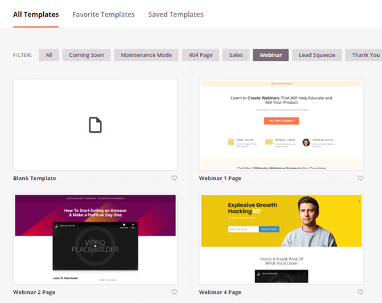 A selection of webinar landing page templates in SeedProd