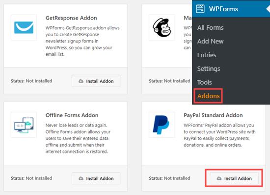 De PayPal Standard-add-on installeren in WPForms