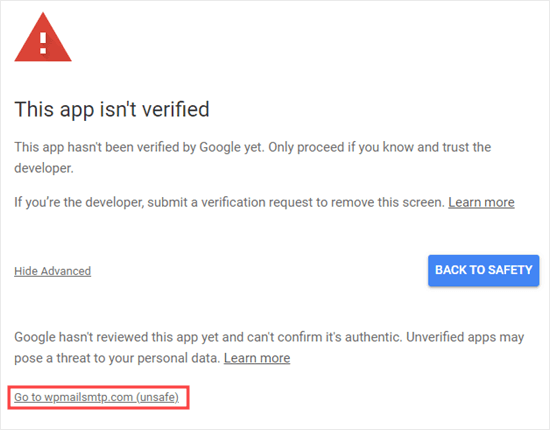 Use the Advanced link to continue even though the app isn't verified