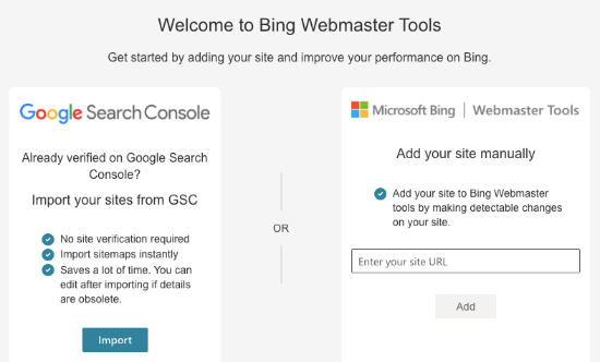 Crea un account in Bing Webmaster Tools
