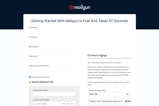 Enter your details to set up your Mailgun account