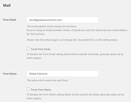 Entering your From email address for WP Mail SMTP