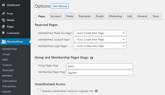 Just some of the setup options in MemberPress