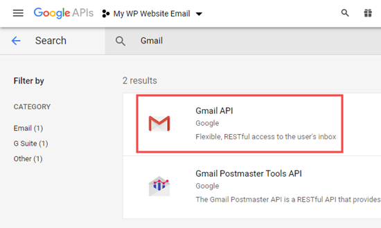Selecting the Gmail API