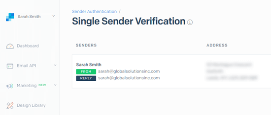 The sender has been created in SendGrid