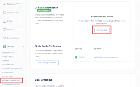 The Sender Authentication page in SendGrid