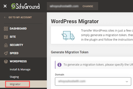 The Siteground WordPress migrator tool