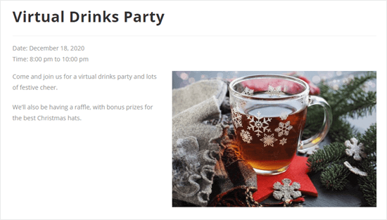 The detail page for the virtual drinks party