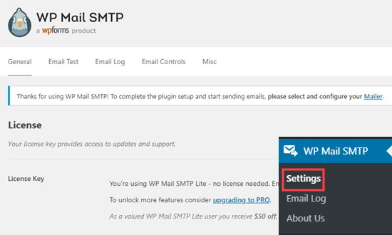 The WP Mail SMTP plugin settings page