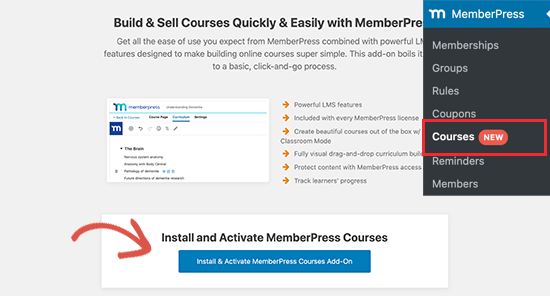 Activate courses addon for MemberPress