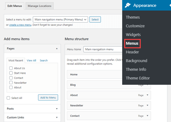 Editing your navigation menu in the WordPress dashboard