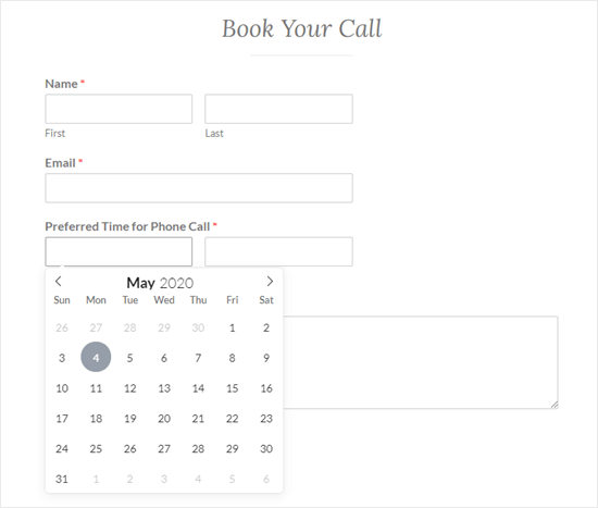 The finished date picker form live on the website