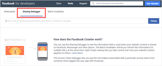 The Facebook Sharing Debugger tool