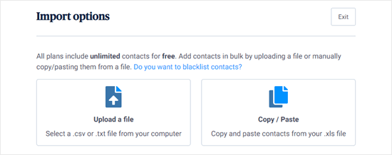 Sendinblue's import options for your contacts list